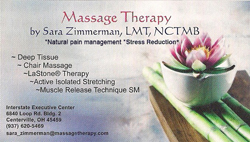 Massage Therapy by Sara Zimmerman Logo