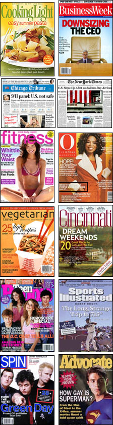 Covers of magazines and newspapers